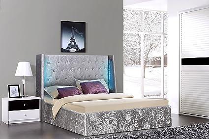 135 cm 4 ft6 doble cama otomana de plata LED luminoso, de terciopelo ...