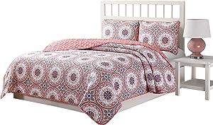 Quaint Home Darma Reversible 3-Piece Queen Quilt Set, Blue/Pink/Purple/White