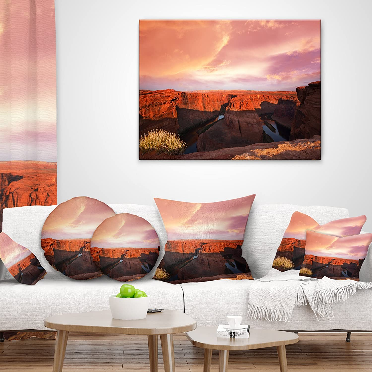 Designart CU12533-16-16 Horse Shoe Bend Under Cloudy Sky Landscape Printed Cushion Cover for Living Room in Insert Side Sofa Throw Pillow 16 in x 16 in