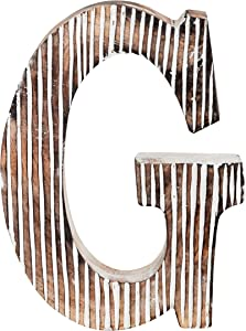 Decorative Wood Letter G | Standing and Hanging Wooden Alphabets Block for Wall Decor | Shabby Chic Wood Block Letter for Wall Table | Alphabet Letter for Home Bedroom Birthday Housewarming Party