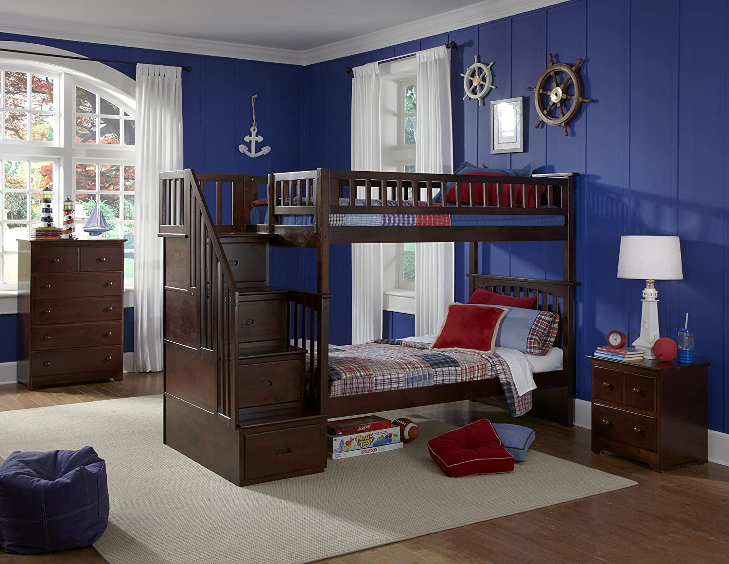 Dark pine twin over twin bunk bed bunk beds - Amazon Com Columbia Staircase Bunk Bed Twin Over Twin Antique Walnut Kitchen Dining