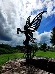 Garden Fairies Metal Art. Fairy Alette is a Garden Fairy Like no Other Metal Outdoor Decor for Your Patio, pots, Lawn, Flower beds or Yard. Make Your Space Magical!