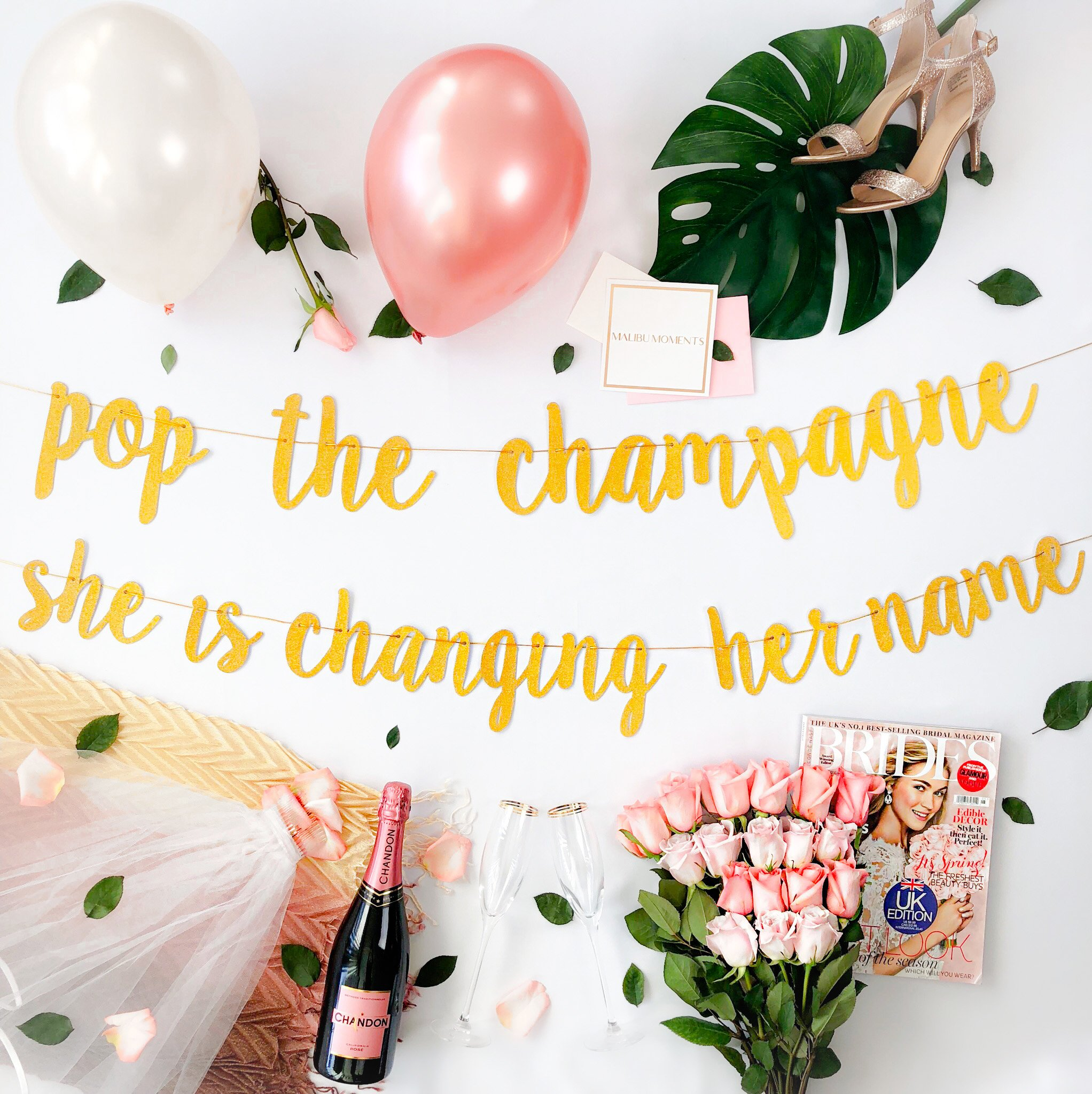 Bachelorette Party Decorations Kit | Bridal Shower Supplies | Bride to Be Sash, Veil, Champagne, Ring Foil Balloon, Rose Gold Balloons, Gold Glitter Banner | Pop The Champagne She Is Changing Her Name by Malibu Moments