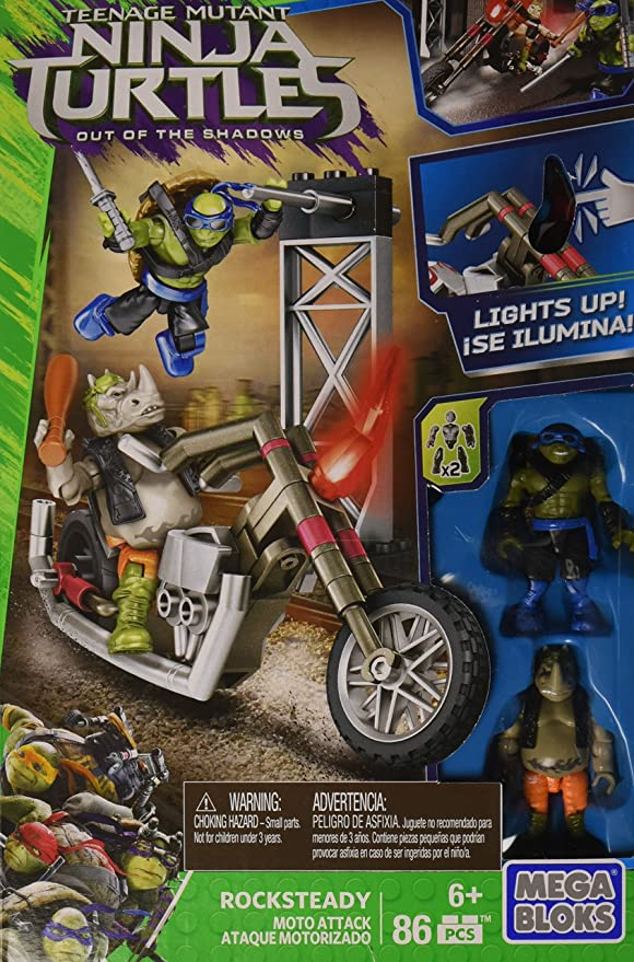 Mega Bloks Teenange Mutant Ninja Turtles: Out of The Shadows Rocksteady Moto Attack Playset