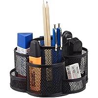 Relaxdays Stiftehalter, Metallgeflecht, 7 Fächer, Drehbar, Rund, Kompakt, für Büro, Stiftebox, Verschiedene Farben