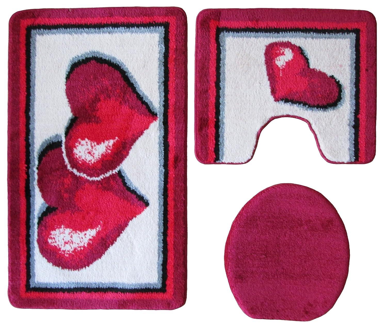 80 x 50cm gro/ße Matte kleine Matte Motiv Herz mit Ausschnitt.f/ür Stand-WC Ilkadim Badgarnitur 3-teilig rot wei/ß 50x40cm