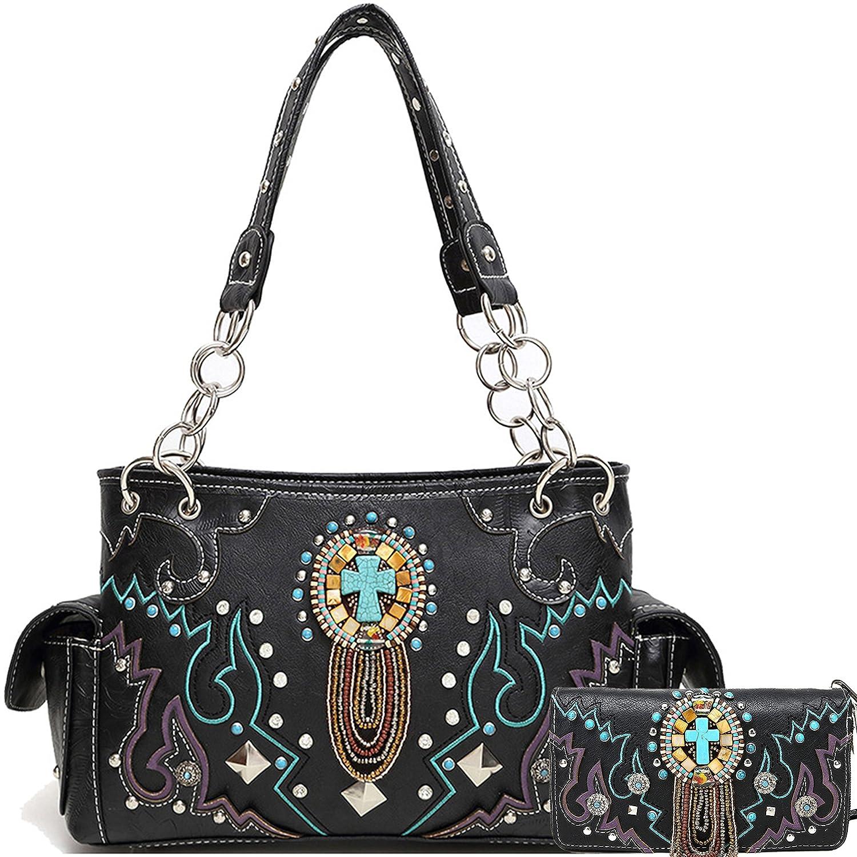 Cowgirl Trendy Western Concealed Carry Tribe Beads Stone Art Purse Handbag Shoulder Bag Wallet Set Black