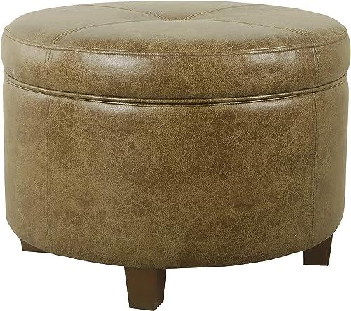 HomePop Large Leatherette Storage Ottoman