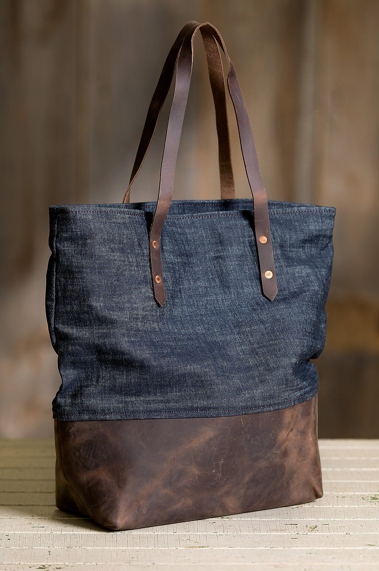 Overland Mills Denim and Leather Tote Bag by Overland Sheepskin Co (Image #3)