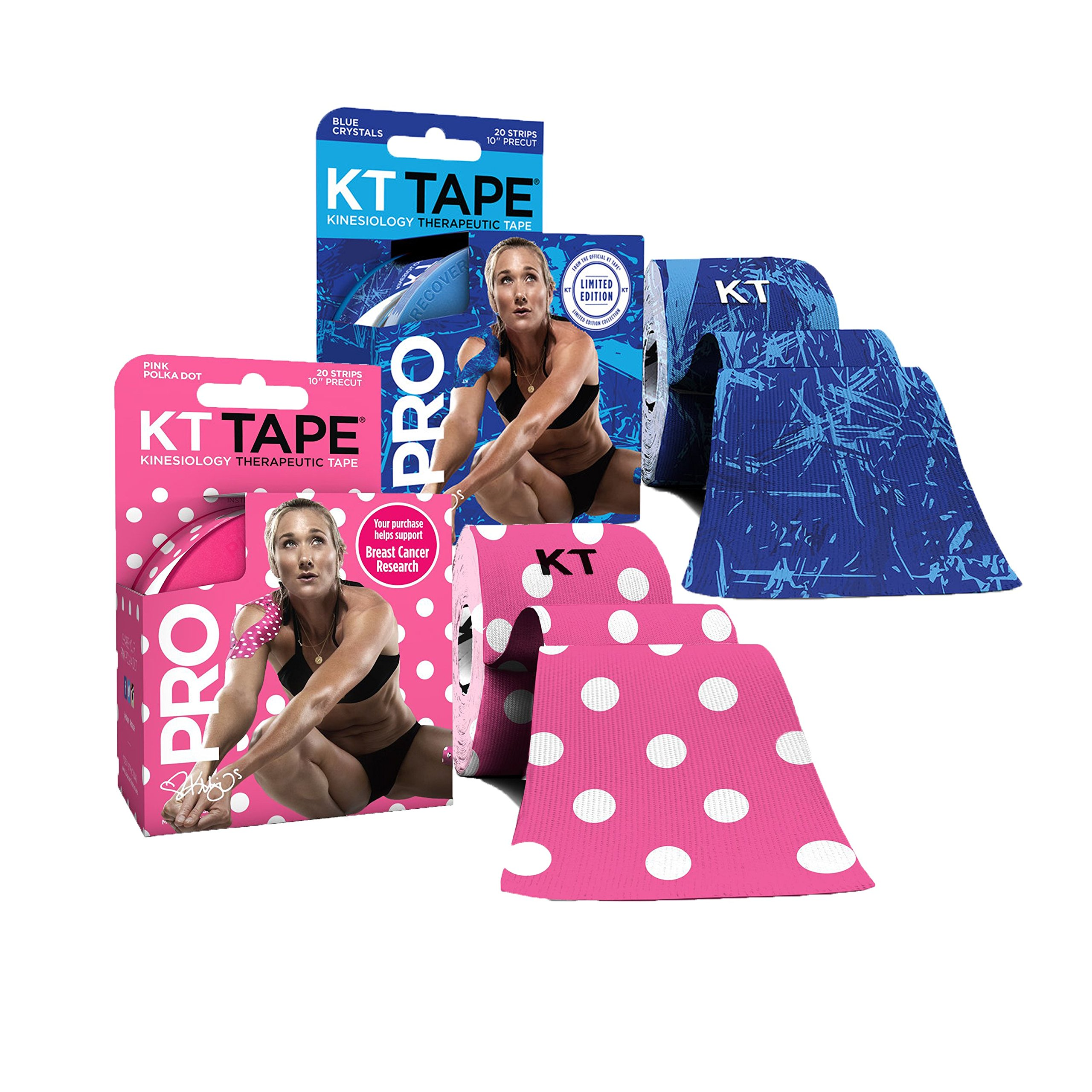 KT Tape PRO Precut 40-Strip Synthetic Kinesiology Tape Two-Roll Bundle - Ice Crystals & Pink Polka Dots