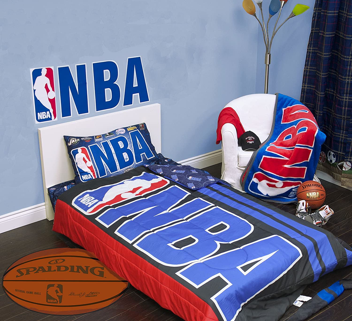 Amazon Exclusive NBA Basket Ball Collection 4 Pcs Twin Comforter Quilt Sheet Set Official Licensed New Home Kitchen