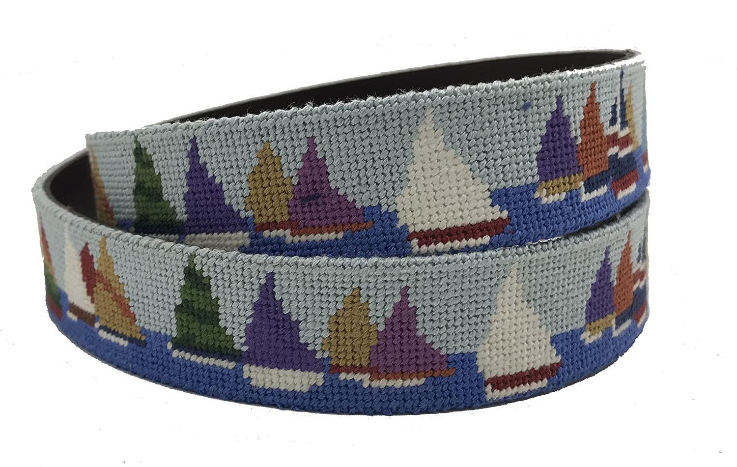 Charleston Belt Race Week Sailing Leather Needlepoint Belt