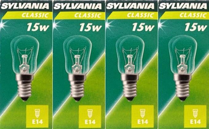 4 x Sylvania Classic 15 W pigmea claro bombillas, rosca Edison pequeña SES E14 230