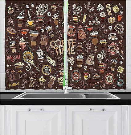 Amazon.com: Ambesonne Coffee Kitchen Curtains, Hand Drawn ...