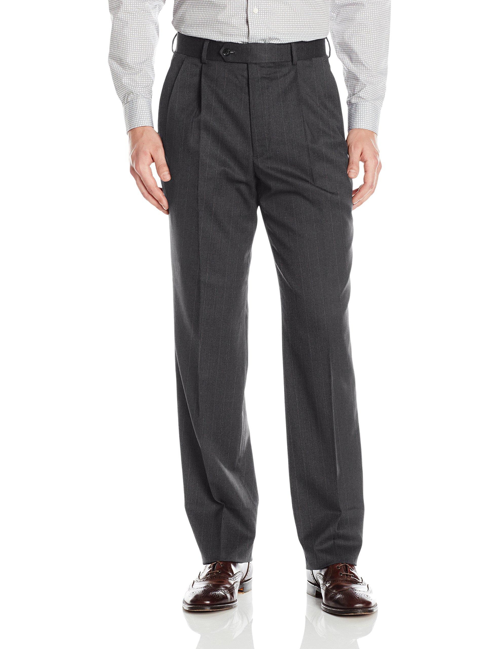 Palm Beach Men's Stan Double Reverse Pleat Dress Pant, Charcoal Stripe, 32W Regular