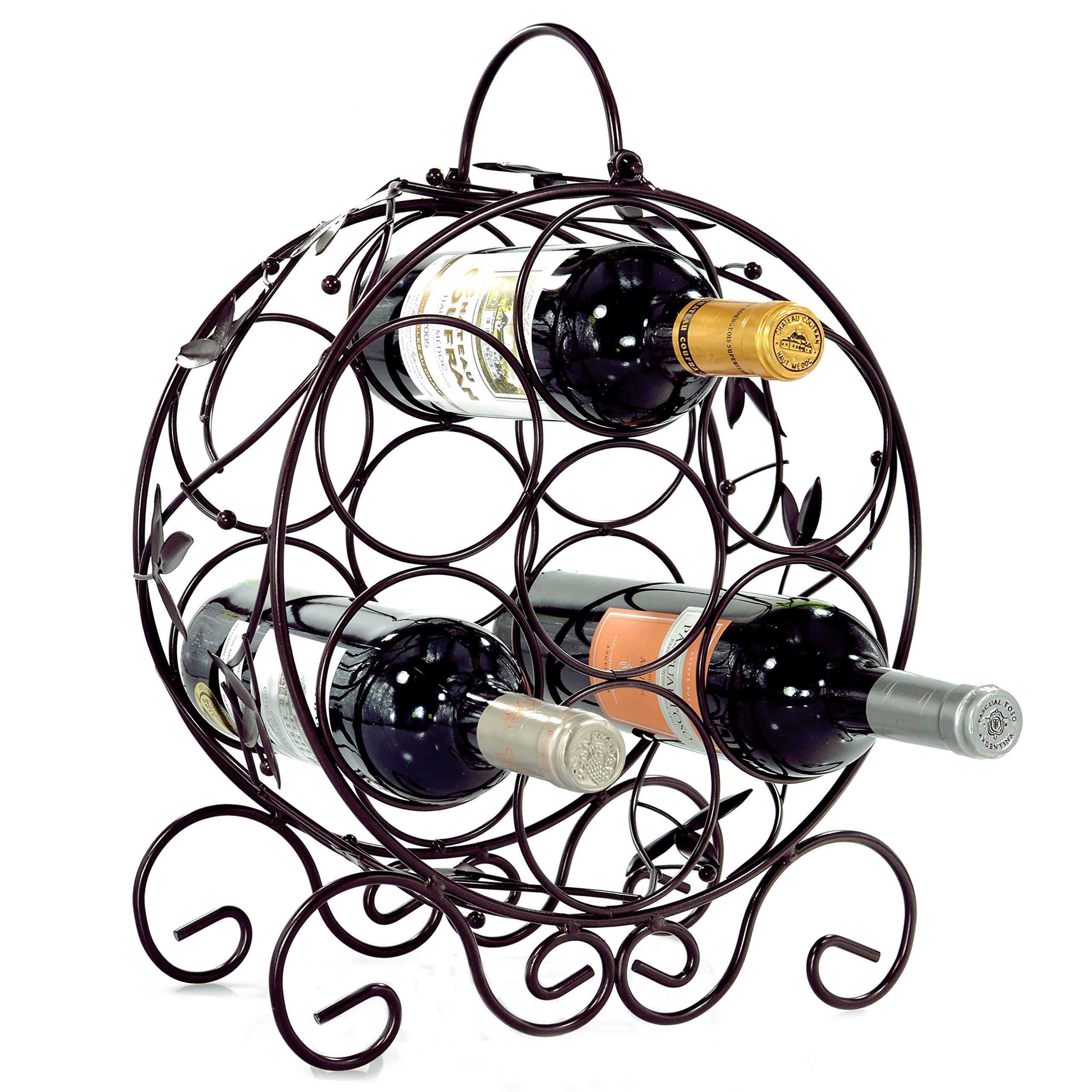 Elegant 7 Bottle Freestanding Countertop Metal Wine Rack/Espresso Brown Leaf Décor Wine Storage Holder