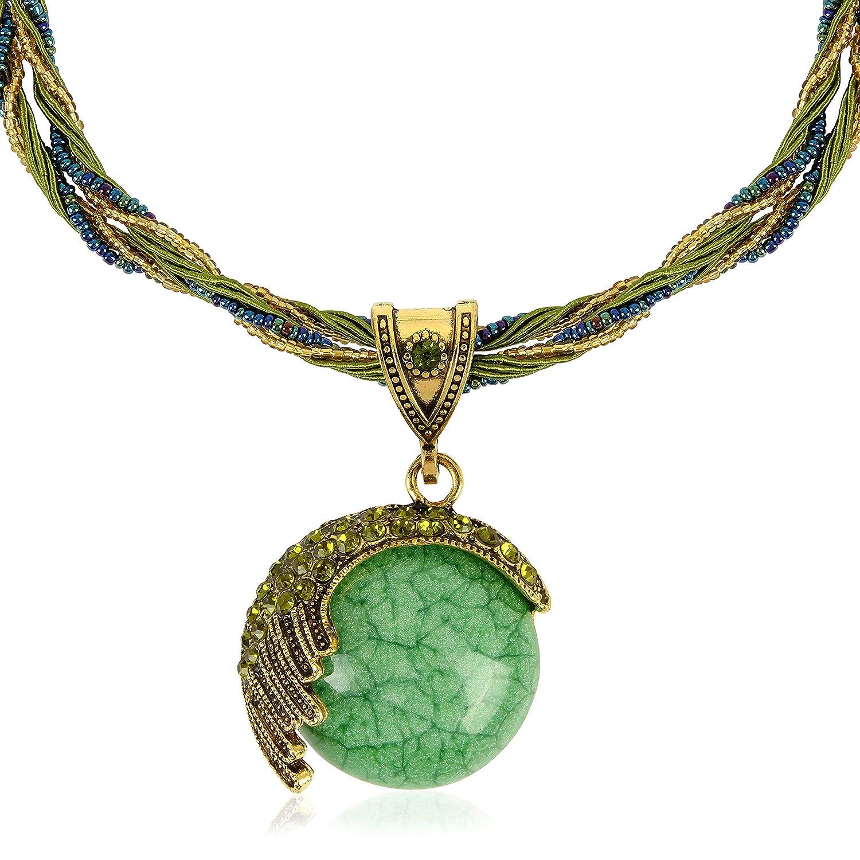 Signore-Signori® Retro Oval Statement Necklace Handmade Costume Jewellery Christmas, Birthday Gift