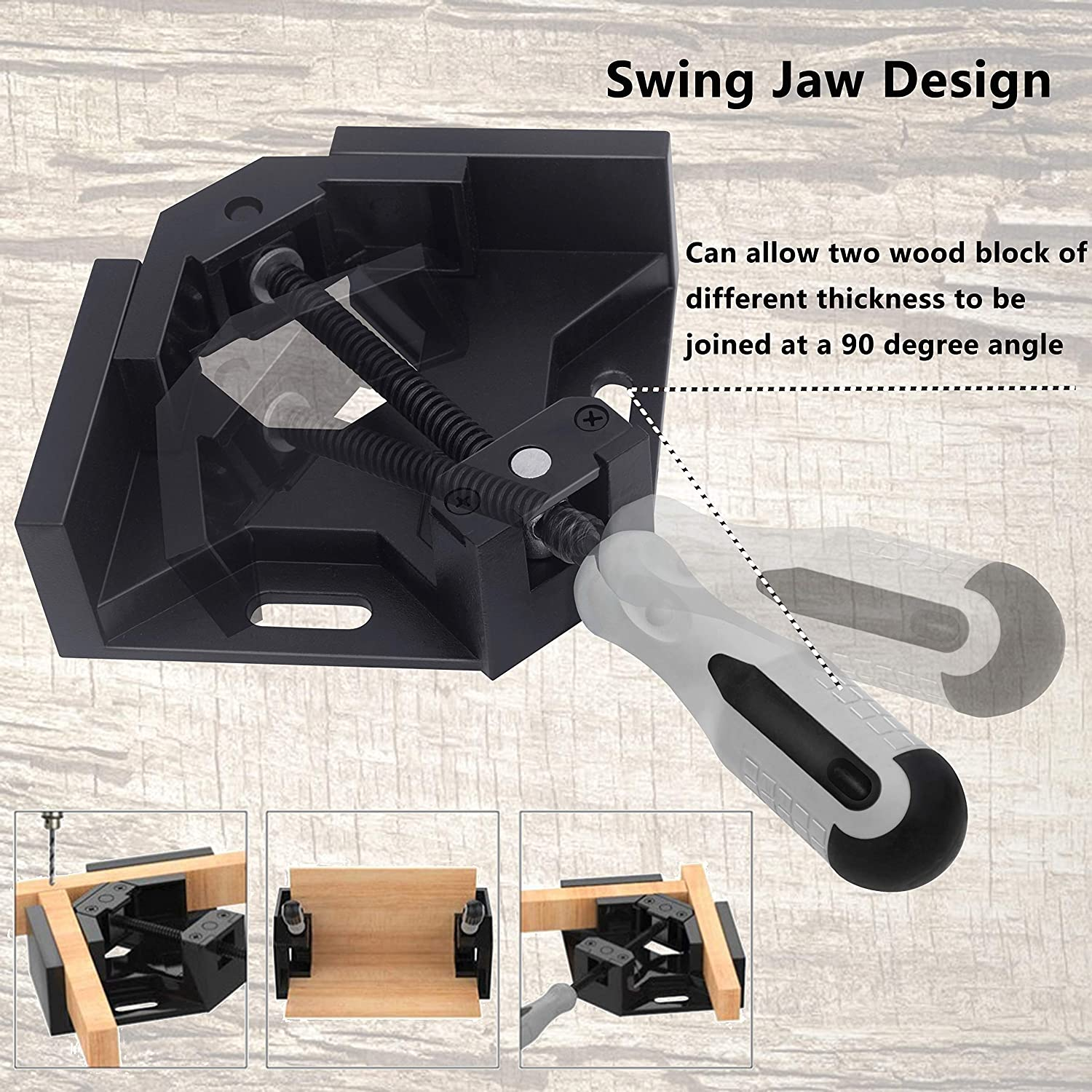Black 90 Degree Clamp Vice Grip Woodworking Quick Fixture Tool TAIWAIN Right Angle Corner Welding Clamp 2pcs Aluminum Alloy Corner Clamps Holder Adjustable Swing Jaw Corner Clamp