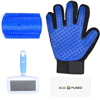 Eco-Fused Brush Kit for Cats - 1x Cat Self Groomer, 1x Blue Slicker Brush, 1 Pet Grooming Glove (Right Hand) - Long and…