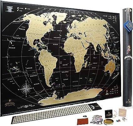 Mapa del Mundo Para Rascar - El Regalo Perfecto Para Viajeros - Edición deluxe 88 x 63 cm: Amazon.es: Oficina y papelería