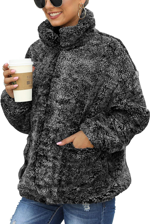 Caracilia Womens Coat Casual Lapel Fleece Fuzzy Faux Shearling Zip Up Warm Winter Oversized Outwear Jackets with Pockets