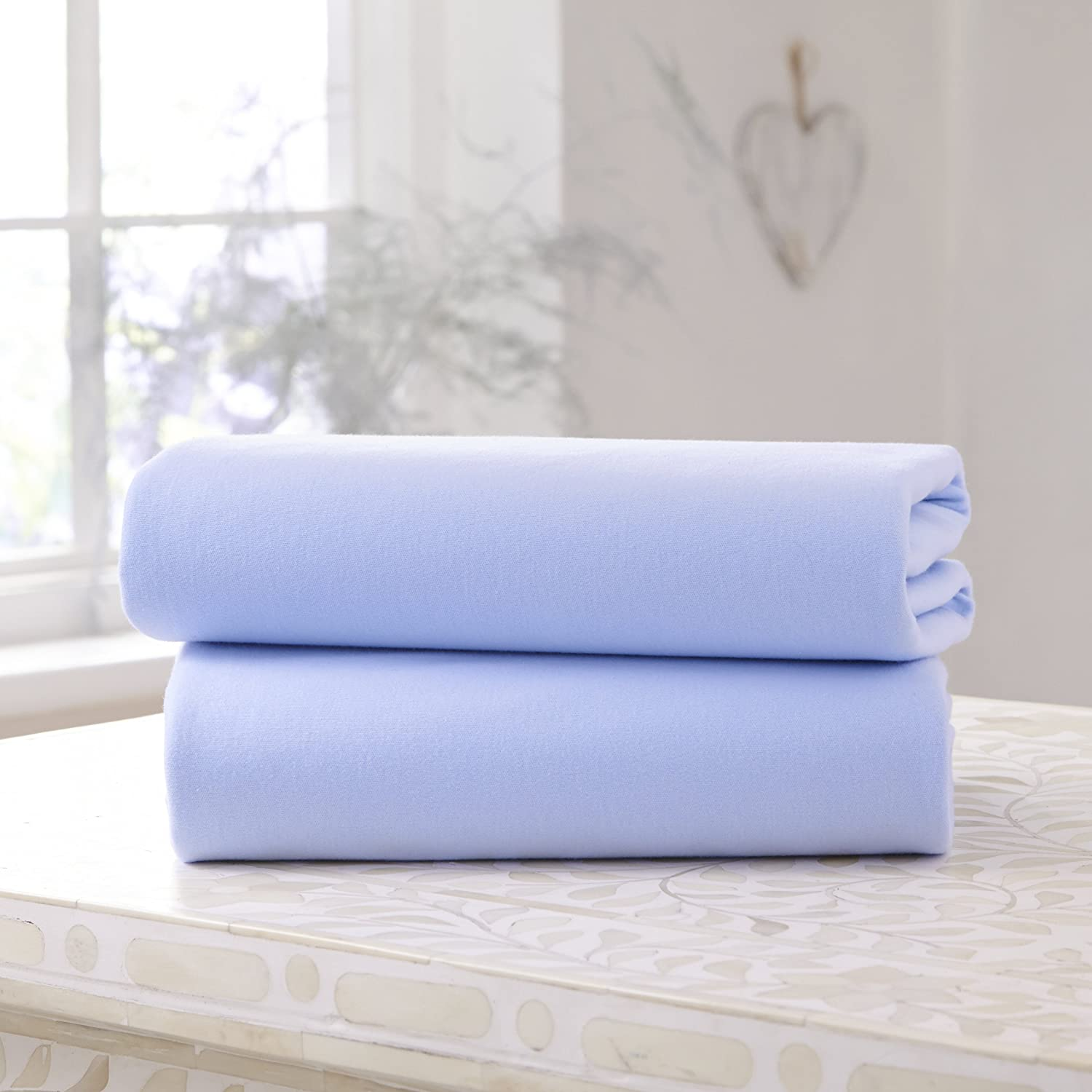 Clair de Lune Cot Bed Cotton Jersey Fitted Sheets (Pack of 2, Blue) 31% OFF £4.97 @ Amazon
