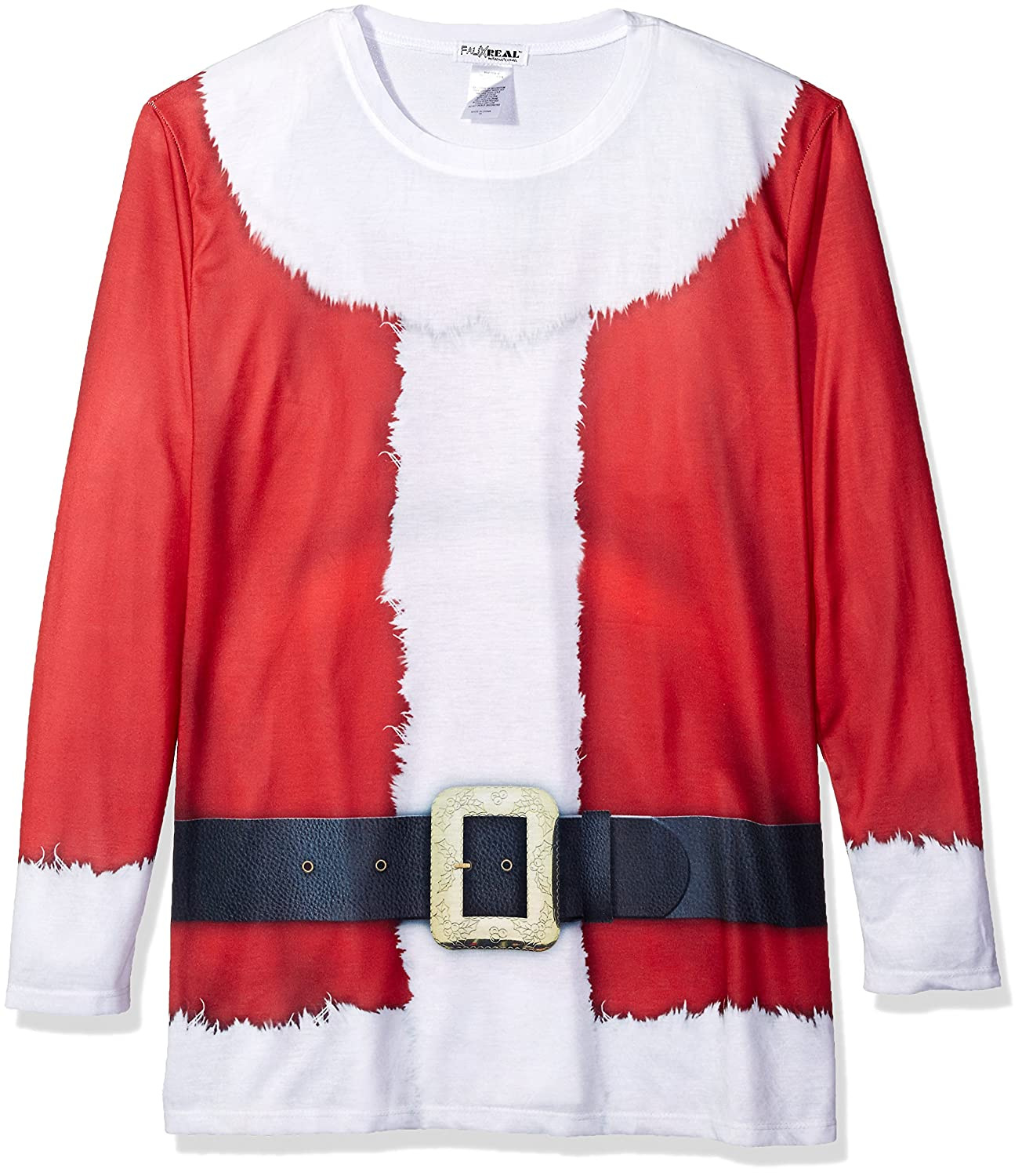 Faux Real Men's Extended Sizes Santa Claus Long Sleeve Shirt F134207