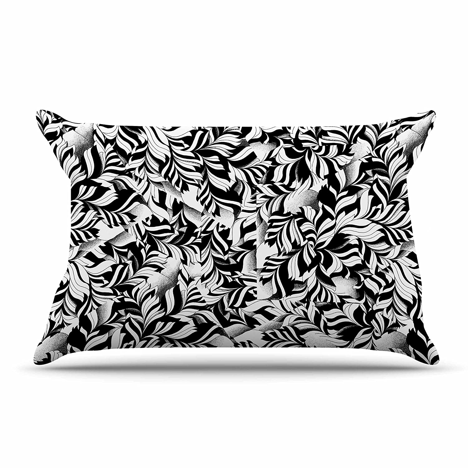 Kess InHouse Victoria Krupp Monochrome Leaves Mosaic King Featherweight Sham