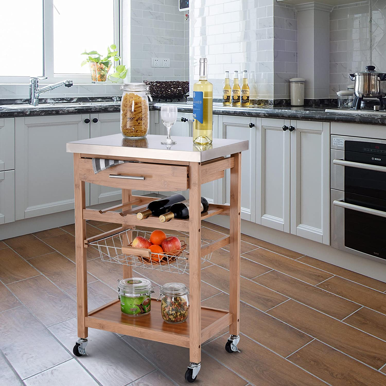 Giantex Kitchen Island Trolley Cart w Wine Rack Drawer Storage Shelf Basket Bamboo Island Serving Cart w Stainless Tabletop 4 Casters 2 Lockable