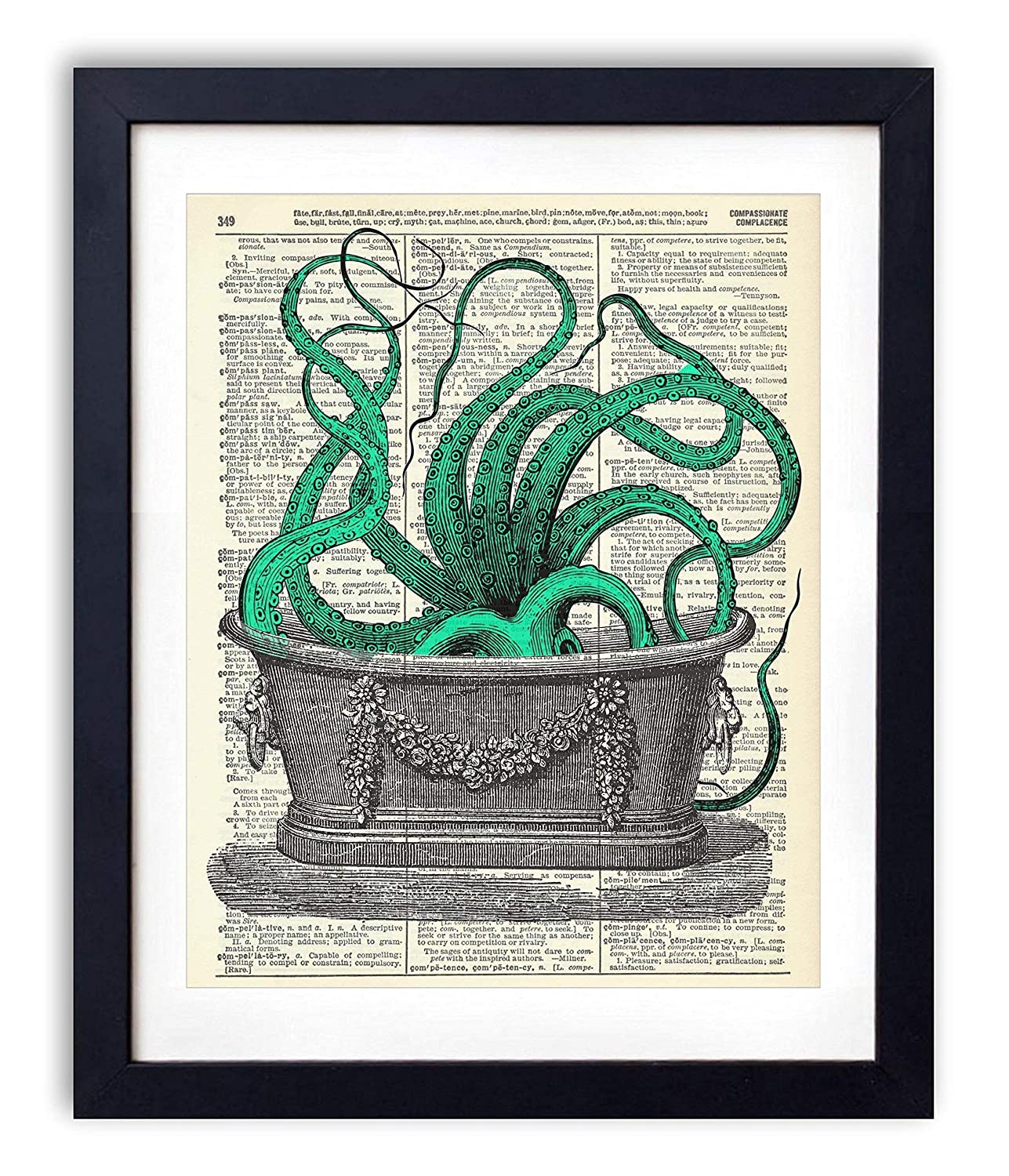Octopus In The Tub Upcycled Vintage Print