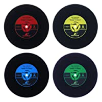 WOLFTEETH Vinyl Record Coasters Set of 4 Beer Mat Retro Cup Drink Placement Place