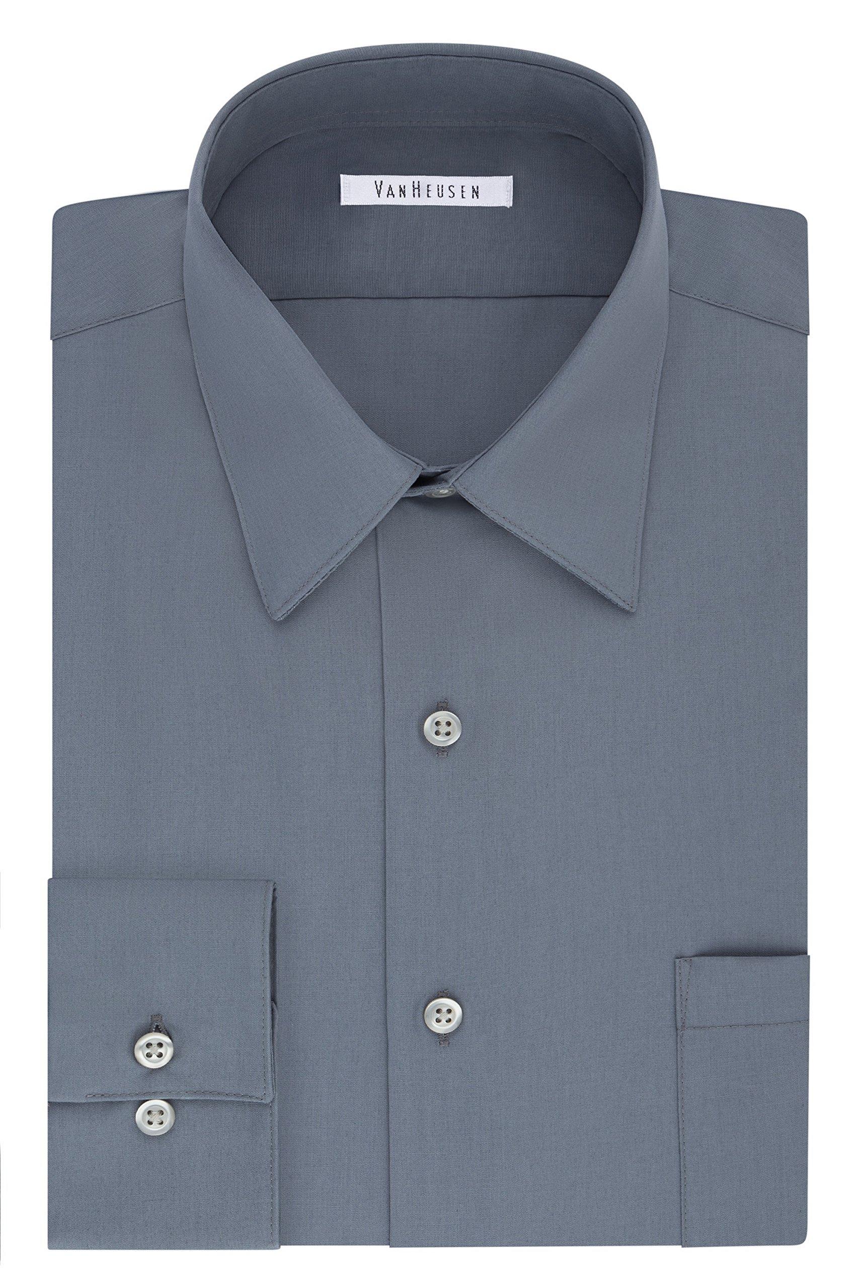 Van Heusen Men's Size Big Dress Shirt Tall Fit Poplin, Grey, 22'' Neck 35''-36'' Sleeve