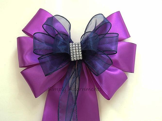 Amazon.com: Purple Navy Bling Wedding Pew Bow Navy Purple Church Pew ...
