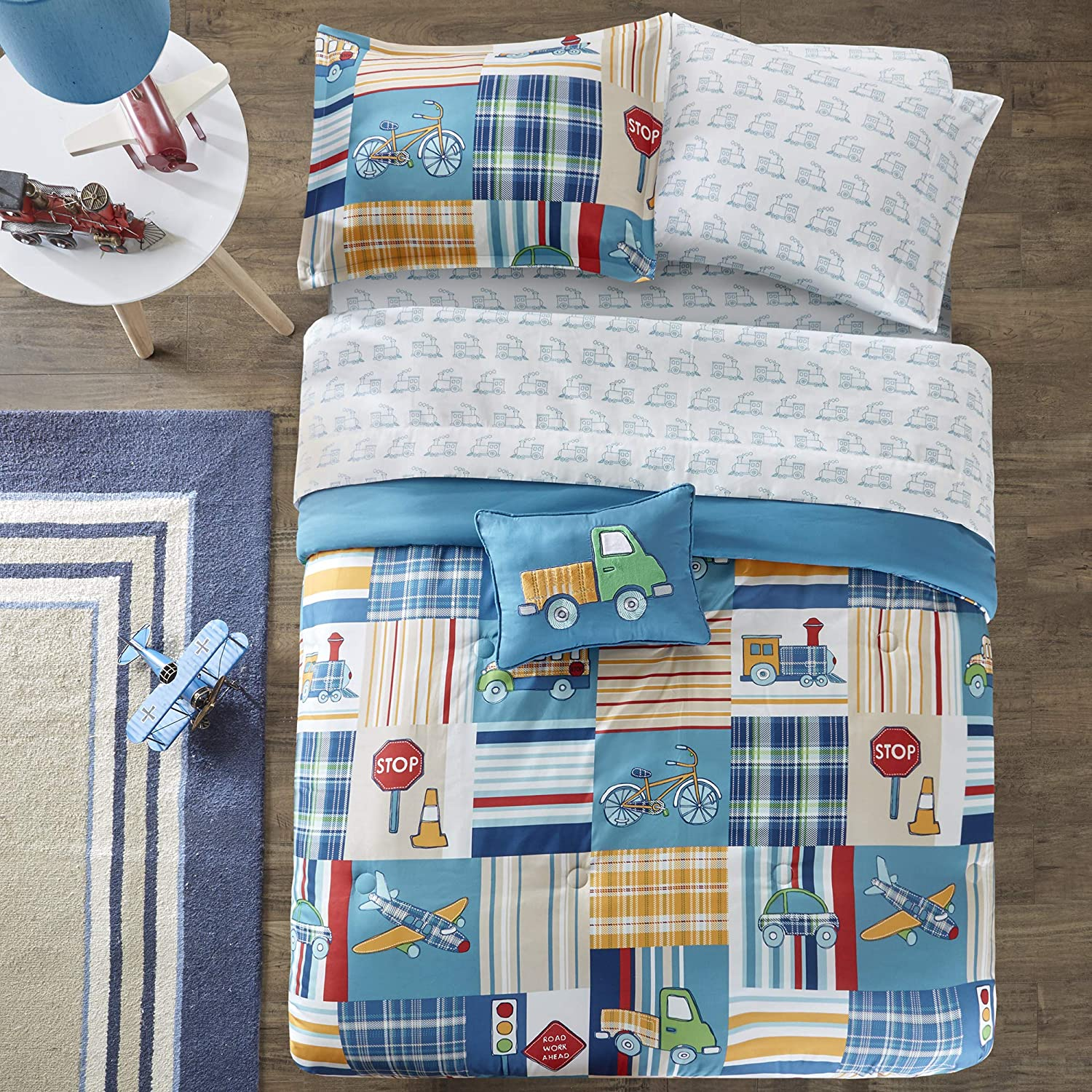 Mi Zone Kids Choo Choo Charlie Twin Kids Bedding Sets for Boys - Blue, Parchwork Trains, Plane, Plaid – 6 Pieces Boy Comforter Set – Ultra Soft Microfiber Kid Childrens Bedroom Comforters