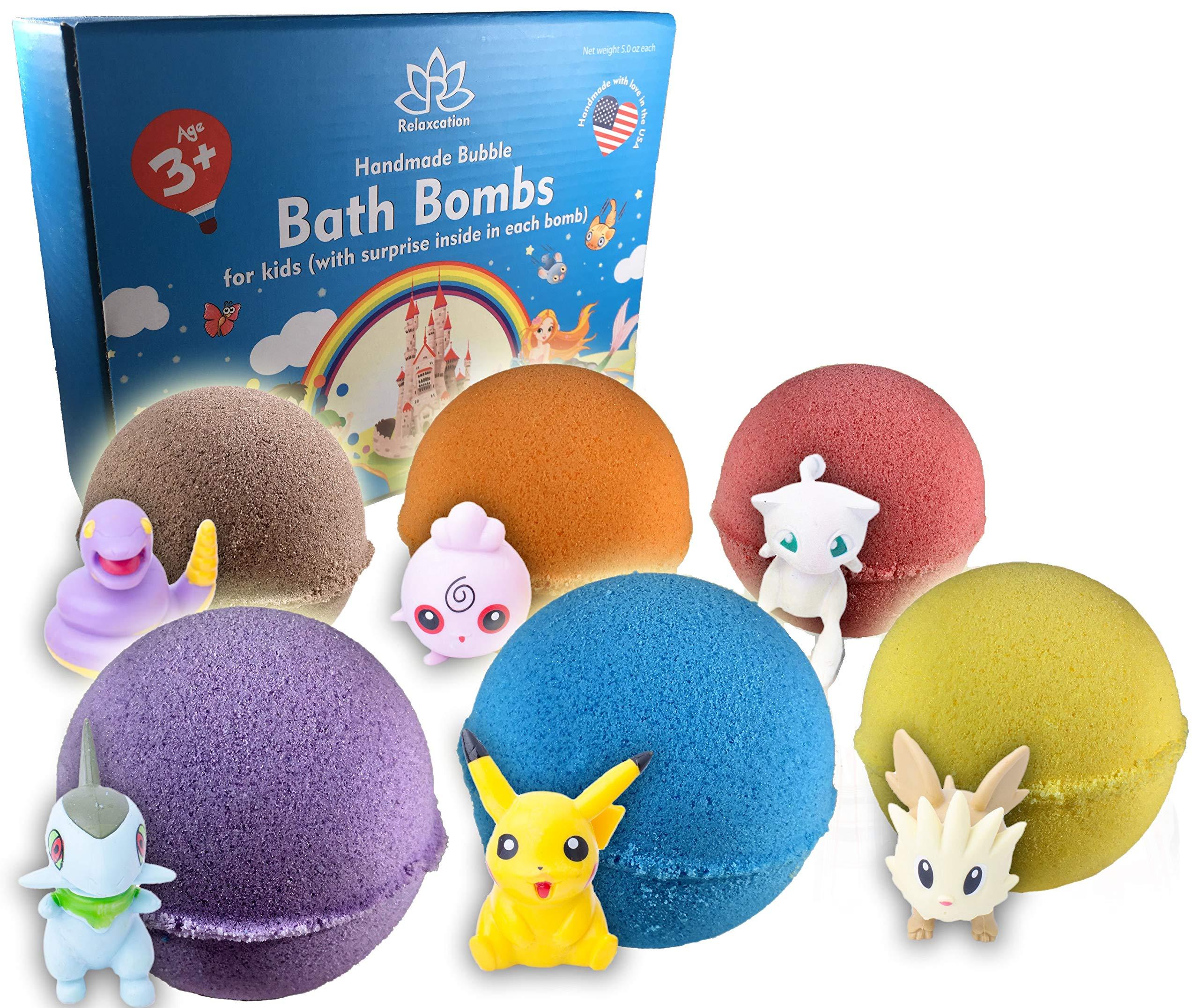 Bath Bombs For Kids with POKEMON TOYS INSIDE/Kids Bath Bombs with Surprises - Bath Bomb Kit for Girls & Boys - Multicolored Bubble Bath Bombs - Natural Safe (Bath Bombs Pokemon)