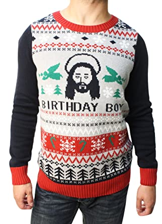 ugly christmas sweater teen boys jesus birthday boy pullover sweater silver heather