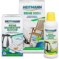 Reine Sauerstoff-Bleiche 375g + Heitmann Reine Soda 500g + Reine Citronensäure 500ml: Bündel für hygienische Sauberkeit für Haushalt, Küche, Bad und Garten