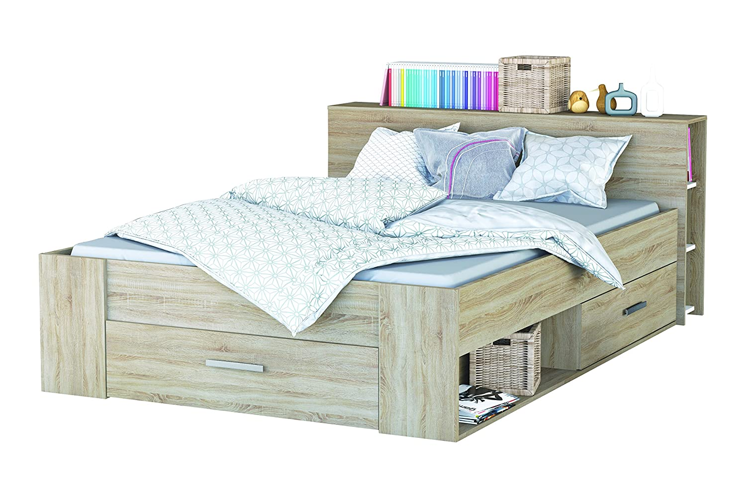 Bedombouw 140 Bij 200.Demeyere Pocket Bed 140 X 200 Cm 159571 Brushed Oak Wood
