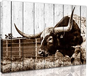 Rustic Wall-Art - Wall Decorations For Bedroom Farmhouse Wall Art - Texas Longhorns Western Decor - Framed Ready To Hang For Kitchen Size 12x16