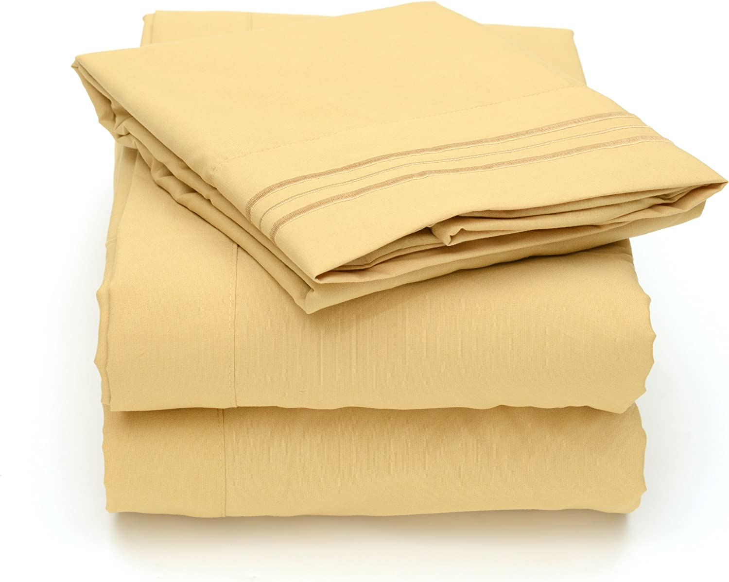 Sweet Home Collection 4 Piece 2000 12 Colors Collection Egyptian Quality Deep Pocket Bed Sheet Set, King, Camel