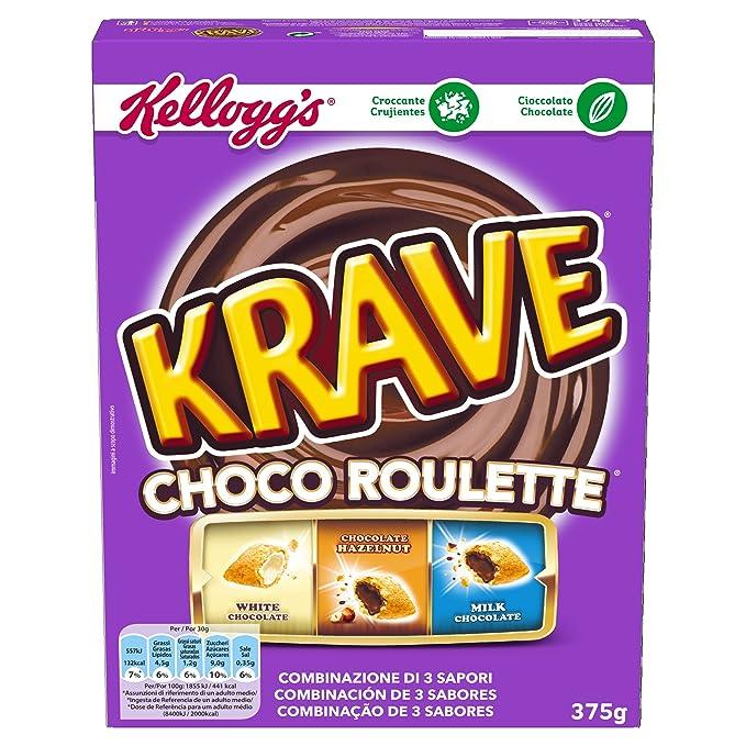 Kelloggs Cereales Krave Roulette - 2 Paquetes de 375 gr - Total: 750 gr