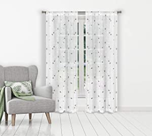 Home Maison - Kiralina Metallic Semi-Sheer Embroidered Floral Leaf Pole Top Window Curtains for Living Room & Bedroom - Assorted Colors - Set of 2 Panels (38 X 84 Inch - White & Grey)