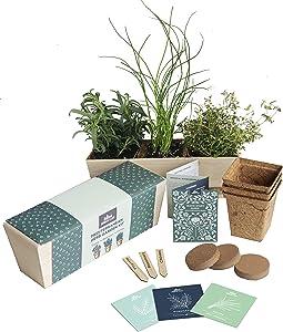 Herb Garden Starter Kit - Grow Live Herbs Indoors from Seed in Your Kitchen or Window - Perfect Gardening Gift - Indoor Garden Kit - Includes Premium Herb Seeds