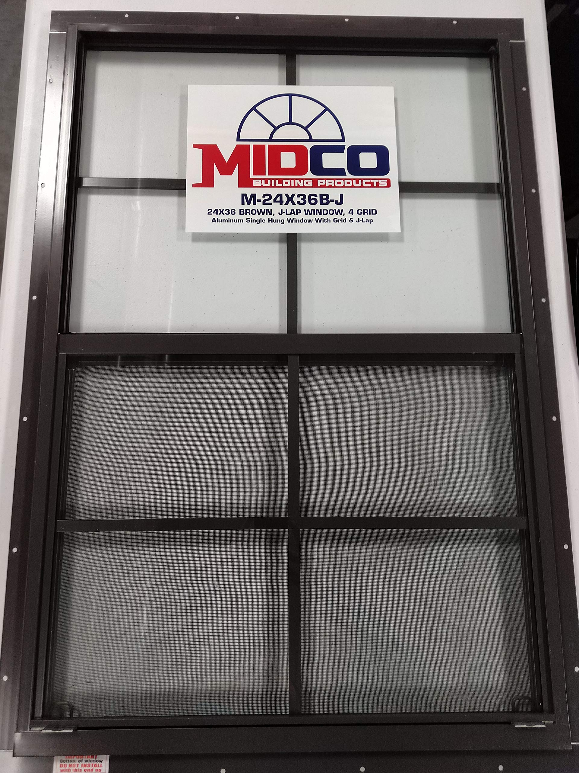 24''x36'' Flush Mount Aluminum Window - Brown w/J Channel by MIDCO Products