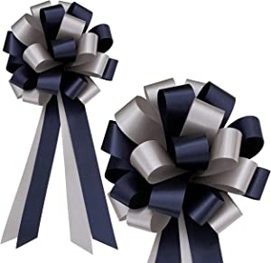 """Navy Blue and Silver Decorative Pull Bows - 8"""" Wide, Set of 6, Christmas, Hanukkah, Wedding Ribbons, Father's Day, School Dance, Boxing Day"""