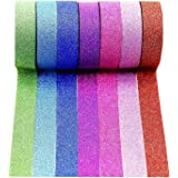 Wise Bird Gift Decorate Rainbow Glitter Sparkle Washi Masking Sticky Adhesive DIY Tape, School Class Office Birthday Notebook Arts & Crafts Gift Wrap Glitter Tape, 32ft/roll, Set of 7-G01