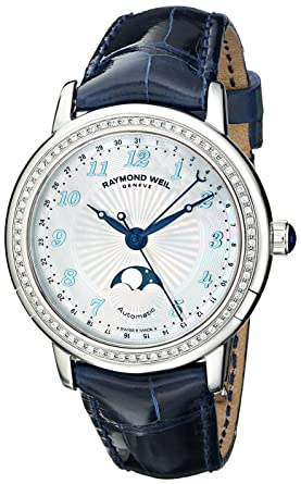 641e8d969 Image Unavailable. Image not available for. Color: Raymond Weil Women's 2739-LS3-05909  Maestro Analog Display Swiss Automatic Blue Watch