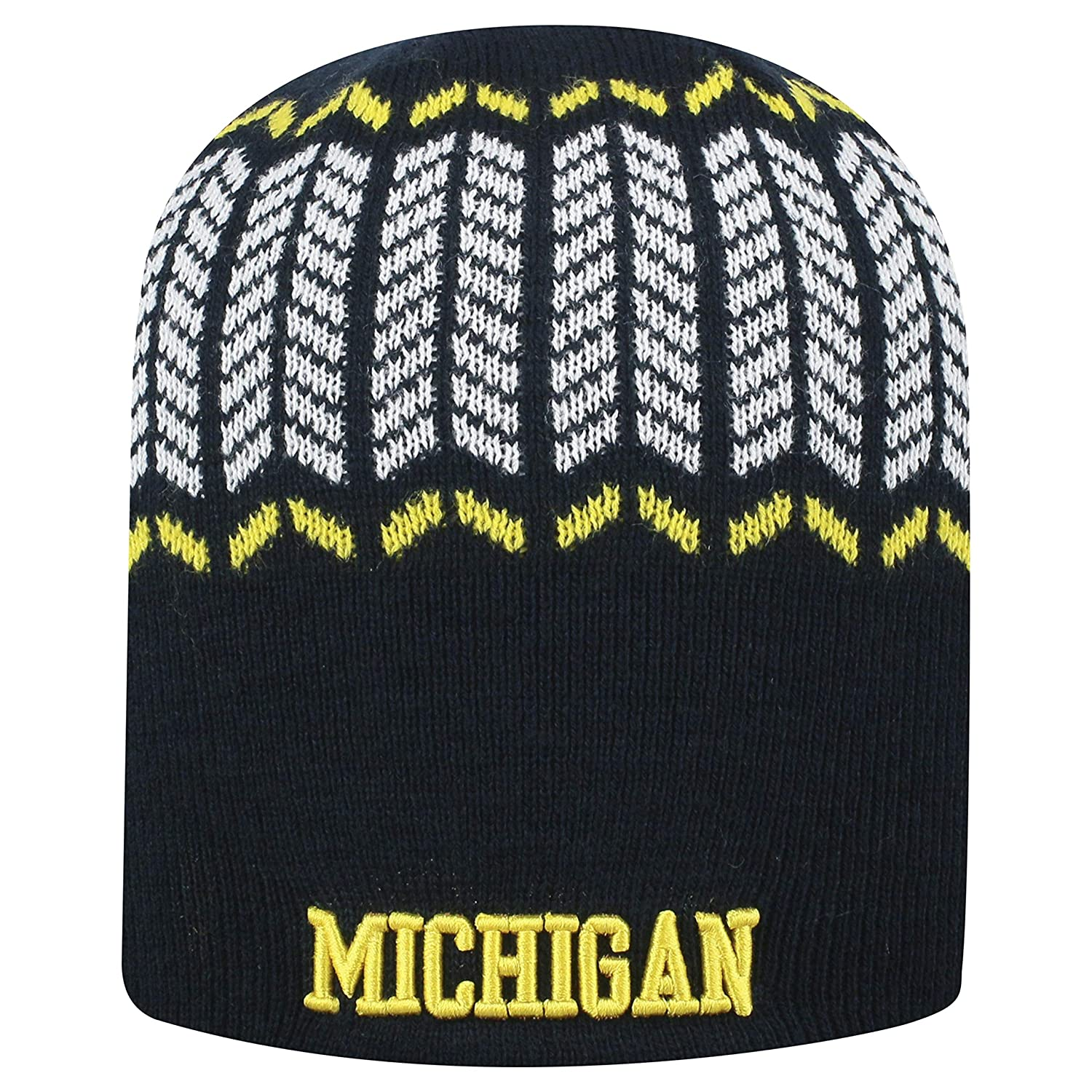 Top of the World Michigan Wolverines Official NCAA Uncuffed Knit Sports Stripe Beanie Hat 744742