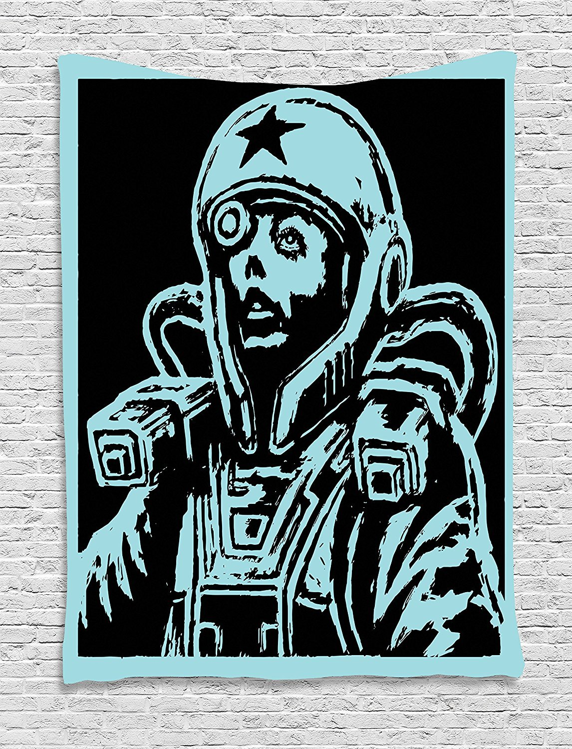 asddcdfdd Astronaut Tapestry, Female Astronaut Space Woman Science Fiction Theme Hand Made Drawing Space Galaxy, Wall Hanging for Bedroom Living Room Dorm, 60 W X 80 L Inches, Teal Black