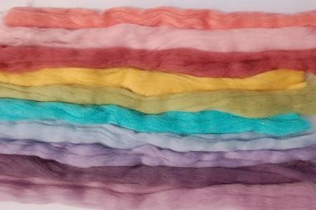 spinning Brown Merino Wool roving 10 russet hues wet /& needle felting tops